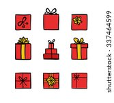 hand drawn icons gifts with... | Shutterstock .eps vector #337464599