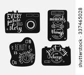 lettering on vintage old camera ... | Shutterstock .eps vector #337465028