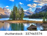 spirit island in maligne lake ... | Shutterstock . vector #337465574