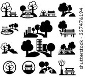 Park  Vector Icons Set On Gray