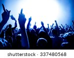 silhouettes of concert crowd in ... | Shutterstock . vector #337480568