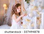 beautiful kid decorates a... | Shutterstock . vector #337494878