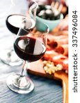 red wine with charcuterie...   Shutterstock . vector #337496084