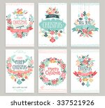 christmas hand drawn card set.... | Shutterstock .eps vector #337521926