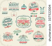 christmas set   labels  emblems ... | Shutterstock .eps vector #337522004