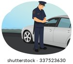 police officer is writing a... | Shutterstock .eps vector #337523630