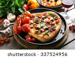 decorated pizza with vegetables ... | Shutterstock . vector #337524956