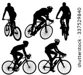 set silhouette of a cyclist... | Shutterstock .eps vector #337529840