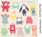 Vector Cute Monsters Set...