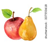 Watercolor Fruits Pear  Red...