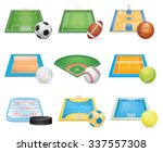 sport fields icons set | Shutterstock .eps vector #337557308
