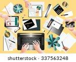 creative team desktop top view... | Shutterstock .eps vector #337563248