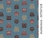 cats pattern gray | Shutterstock .eps vector #337567118