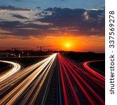 speed traffic at sundown time... | Shutterstock . vector #337569278