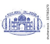 stamp with taj mahal palace  ... | Shutterstock .eps vector #337582670