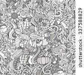 Cartoon vector hand-drawn Doodles on the subject of Thanksgiving autumn symbols, food and drinks seamless pattern. Sketch background