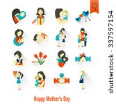 happy mothers day simple flat... | Shutterstock . vector #337597154