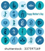 happy mothers day simple flat... | Shutterstock . vector #337597169