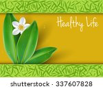 healthy lifestyle with jasmine... | Shutterstock .eps vector #337607828