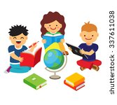 group of kids studying and... | Shutterstock .eps vector #337611038