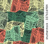 grunge ethnic background. brown ... | Shutterstock .eps vector #337616984
