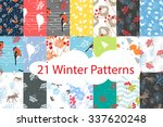 Set Of 21 Seamless Winter...