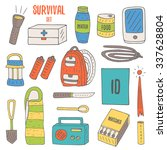 doodle objects for survival in... | Shutterstock .eps vector #337628804