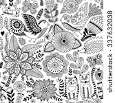 seamless vector floral pattern  ... | Shutterstock .eps vector #337632038