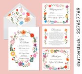 wedding set with floral... | Shutterstock .eps vector #337657769