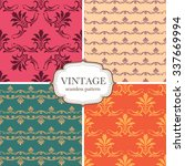 set of four seamless vintage... | Shutterstock .eps vector #337669994