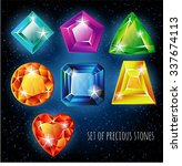 set of colored gemstones on a... | Shutterstock .eps vector #337674113