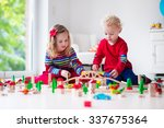 children playing with wooden... | Shutterstock . vector #337675364