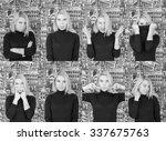 beautiful blonde girl with... | Shutterstock . vector #337675763