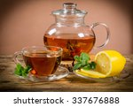 cup and teapot of green tea... | Shutterstock . vector #337676888