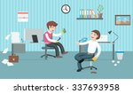 two lazy office workers have a... | Shutterstock .eps vector #337693958