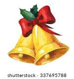 golden watercolor christmas... | Shutterstock . vector #337695788