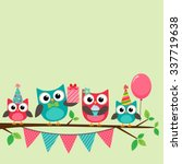 vector birthday party card with ... | Shutterstock .eps vector #337719638