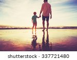 father and son holding hands... | Shutterstock . vector #337721480