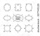 set of 9 cute vintage frames of ... | Shutterstock .eps vector #337745120