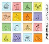 christmas icons in sticky note... | Shutterstock .eps vector #337778810