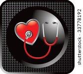 stethoscope on heart on black... | Shutterstock .eps vector #33778192