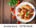 penne pasta with meatballs in... | Shutterstock . vector #337815668