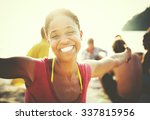 african woman happiness  beach... | Shutterstock . vector #337815956