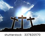Three Christian Crosses On The...