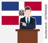 man in suit standing at rostrum ... | Shutterstock .eps vector #337840460