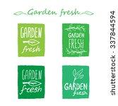 garden fresh hand drawn logos.... | Shutterstock .eps vector #337844594