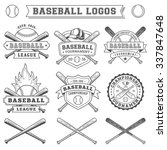 black and white vector baseball ... | Shutterstock .eps vector #337847648