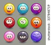 cartoon comic round faces set ...
