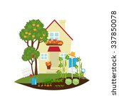 small house among the apple... | Shutterstock .eps vector #337850078