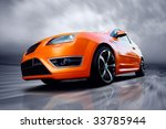 beautiful orange sport car on... | Shutterstock . vector #33785944